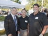 Mayor Peloquin, Treasurer Bilotto, and Larry Garetto of Beggar's Pizza