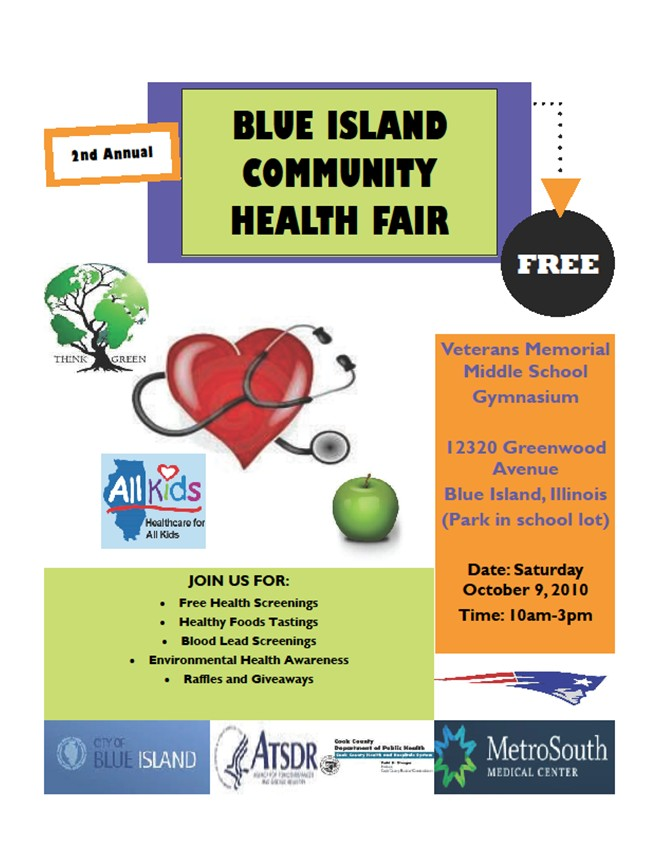 Download the event flyer. 2nd Annual Blue Island Health Fair: Oct 8-9, 2010.
