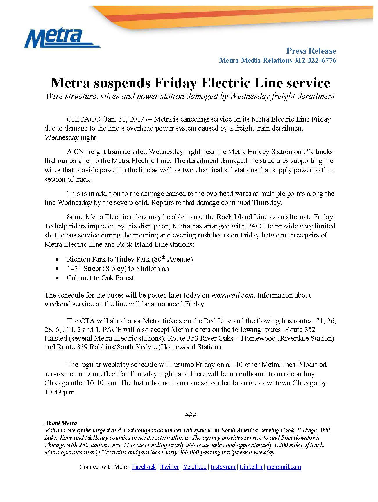 Updated* No Metra Electric Line Service Friday, February 1