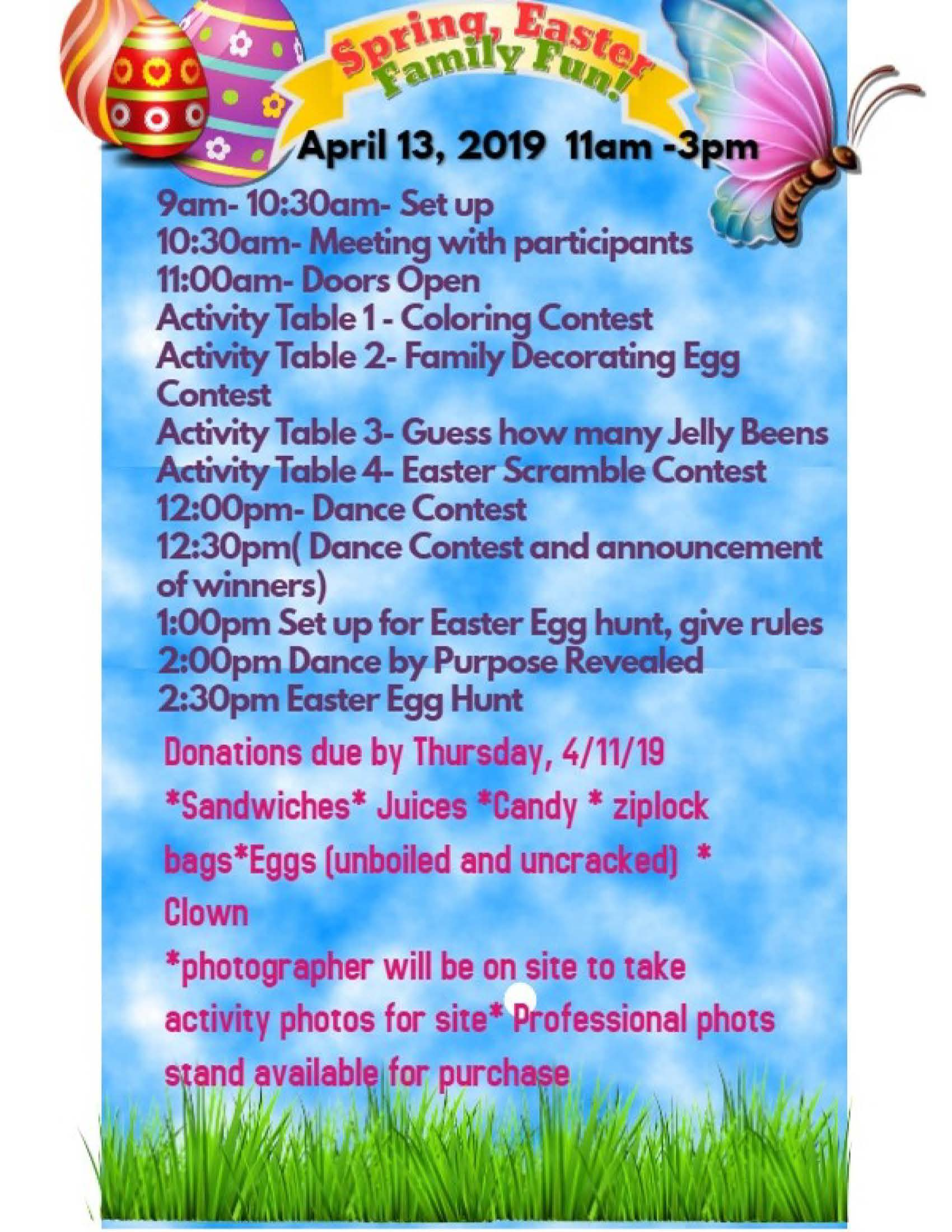 Family Fun Easter Activities Schedule at the John D. Rita Rec Center.
